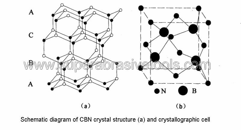 Schematic diagram of CBN crystal structure (a) and crystallographic cell
