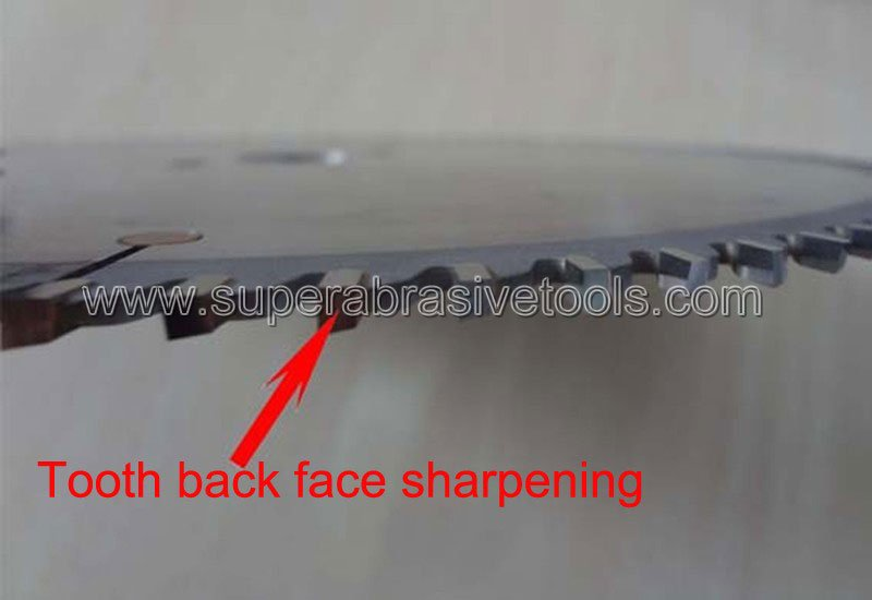 Tooth back face sharpening carbide saw blade